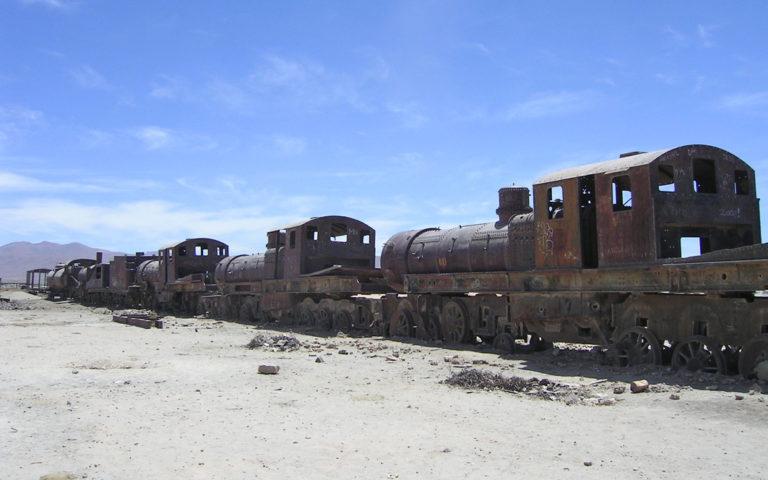 Der Eisenbahnfriedhof von Uyuni erinnert an längst vergangene Zeiten