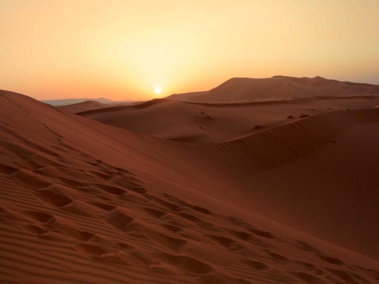 Den Sonnenuntergang in der Wüste erleben