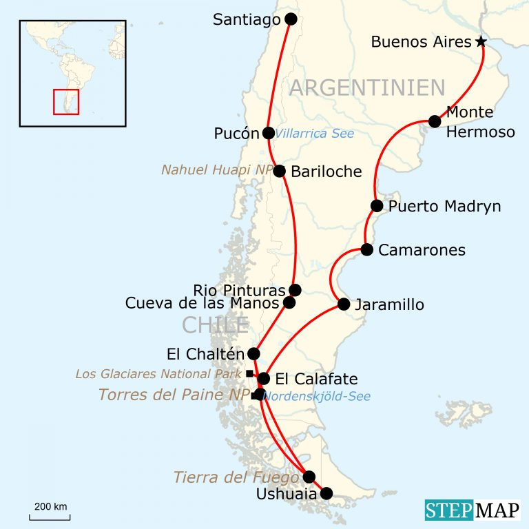 Patagonien Highlights Karte.Abenteuerreise Durch Patagonien 34 Tage Traveljunkies Tours