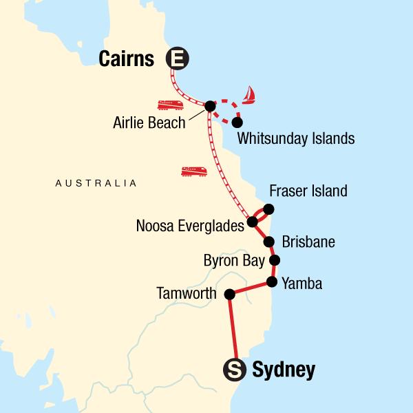 Karte Australien Und Umgebung.Klassiker Ostküste Australien Sydney Nach Cairns Traveljunkies Tours