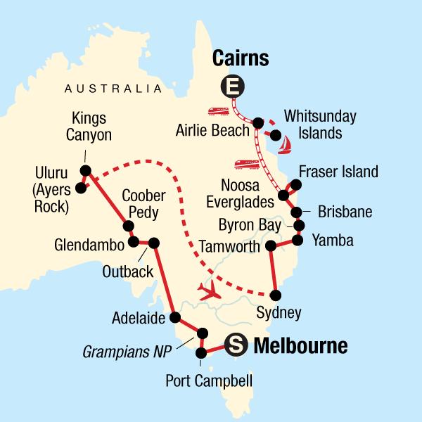 Karte Australien Und Umgebung.Australien Komplett Traveljunkies Tours
