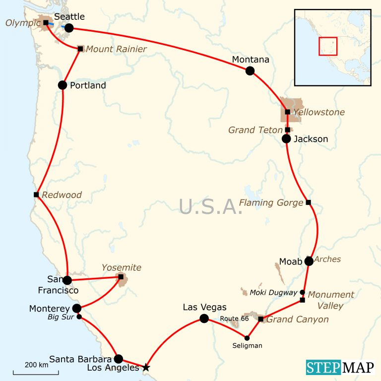 Karte Usa Westen.Camping Roadtrip Im Westen Der Usa Traveljunkies Tours