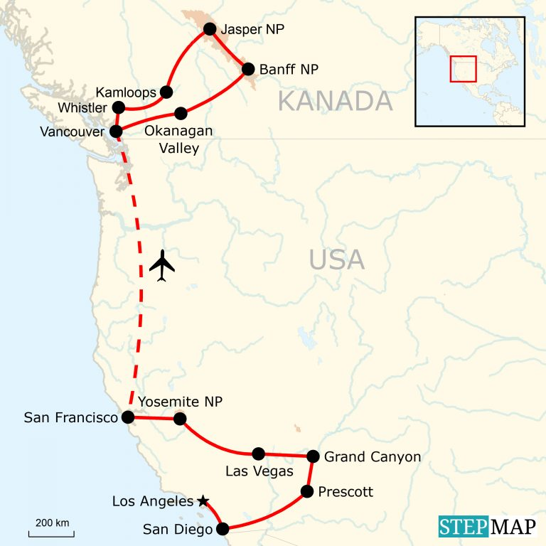 Karte Usa Westen.Die Westküste Der Usa Kombiniert Mit Kanadas Westen Traveljunkies