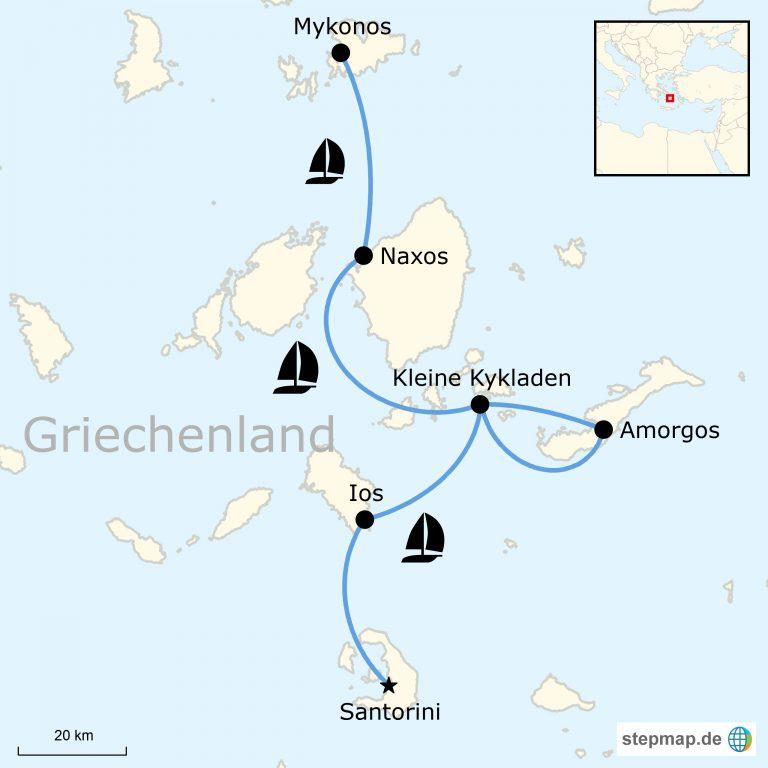 Karte Griechenland Mykonos.Griechenland Abenteuer Segeln Von Mykonos Nach Santorini