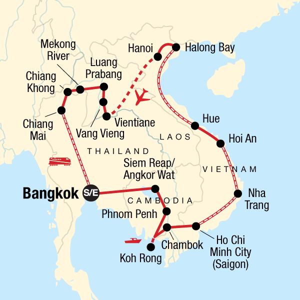 Karte Thailand Kambodscha.Abenteuer Indochina Preiswert Reisen Traveljunkies Tours