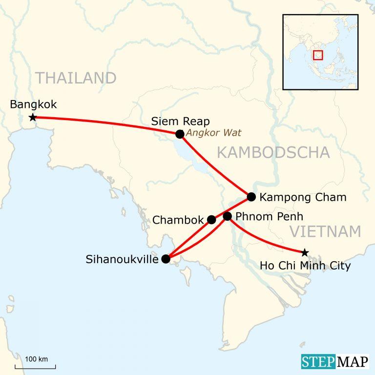 Karte Thailand Kambodscha.Kambodscha Abenteuerurlaub Traveljunkies Tours