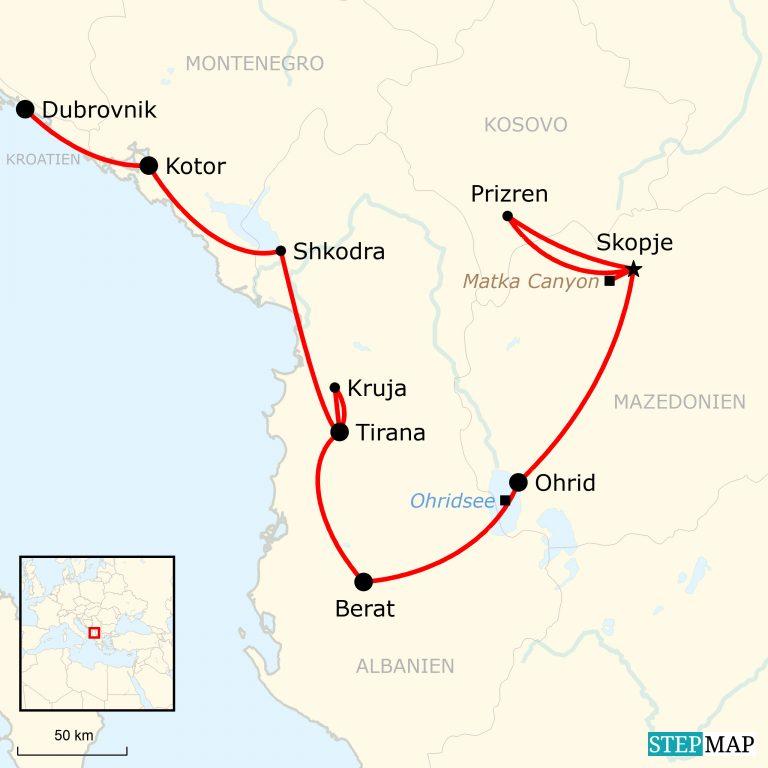 Kotor Montenegro Karte.Kulturreise Balkan Halbinsel Von Ost Nach West