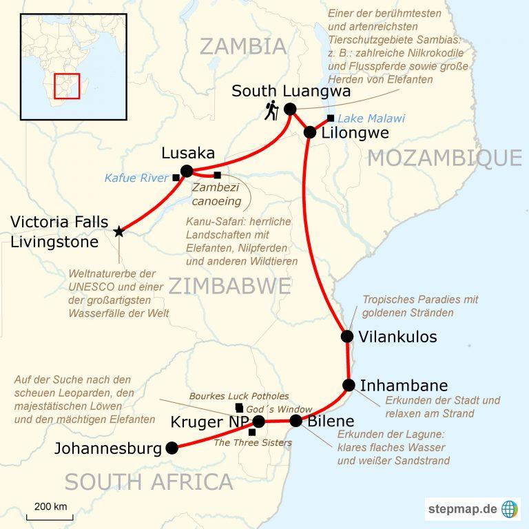 Mosambik Karte.Mosambik Sambia Wildtier Erlebnisreise Traveljunkies Tours
