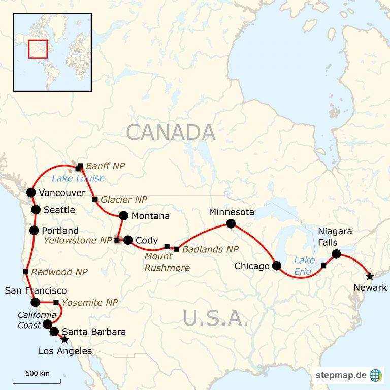 Karte Nordamerikas.Nordamerika Roadtrip Von Küste Zu Küste New York Nach Los Angeles