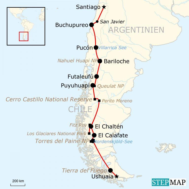 Patagonien Highlights Karte.Patagonien Abenteuerreise Von Ushuaia Nach Santiago Traveljunkies