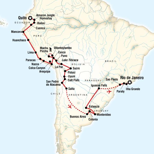 Peru Karte Südamerika.Die Große Südamerika Abenteuerreise Von Quito Nach Rio