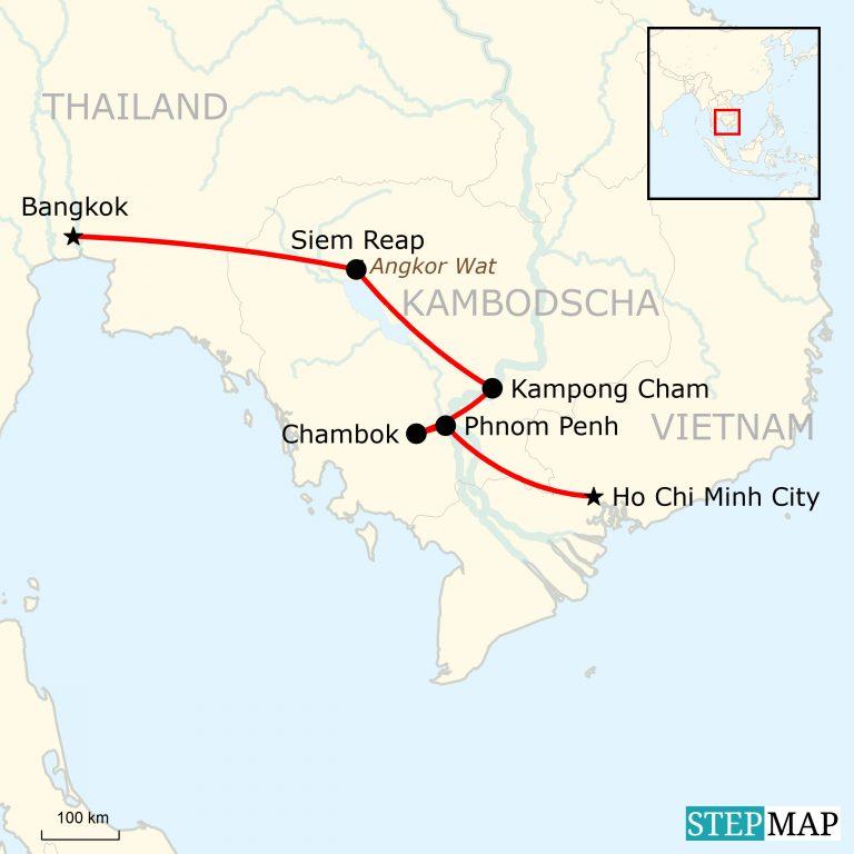 Karte Thailand Kambodscha.Südostasien Preiswert Reisen Traveljunkies Tours