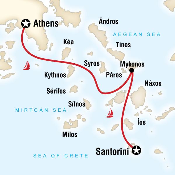 Karte Griechenland Mykonos.Segeln In Griechenland Großes Inselhopping Traveljunkies Tours