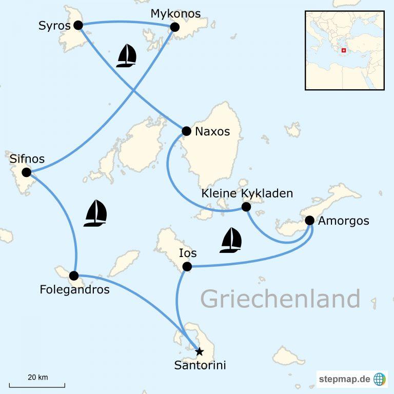 Kykladen Karte.Segeln In Griechenland Kykladen Abenteuer Traveljunkies Tours