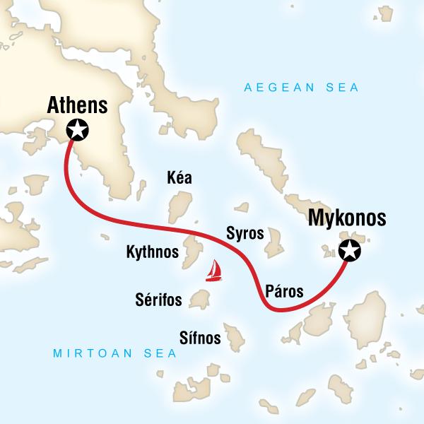 Karte Griechenland Mykonos.Segeln In Griechenland Von Mykonos Nach Athen Traveljunkies Tours