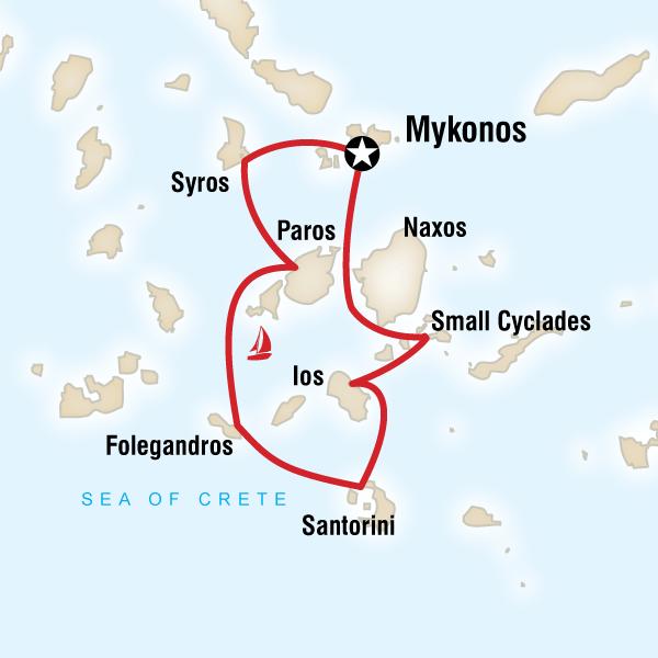 Karte Griechenland Mykonos.Segeln Durch Die Kykladen Traveljunkies Tours