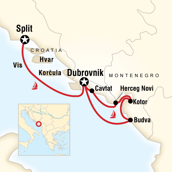 Karte Montenegro Kroatien.Segeln In Montenegro Kroatien Dalmatinische Kuste Budva
