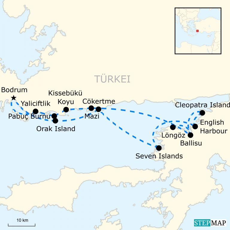 Bodrum Karte.Segelparadies Türkei Traveljunkies Tours