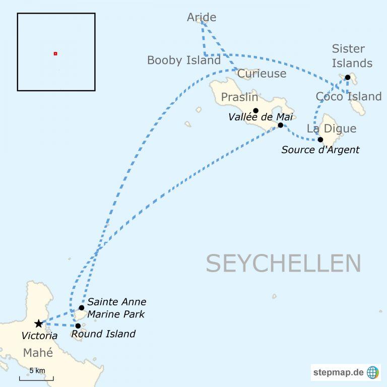 Seychellen Karte Afrika.Seychellen Segelabenteuer November Bis April Traveljunkies Tours