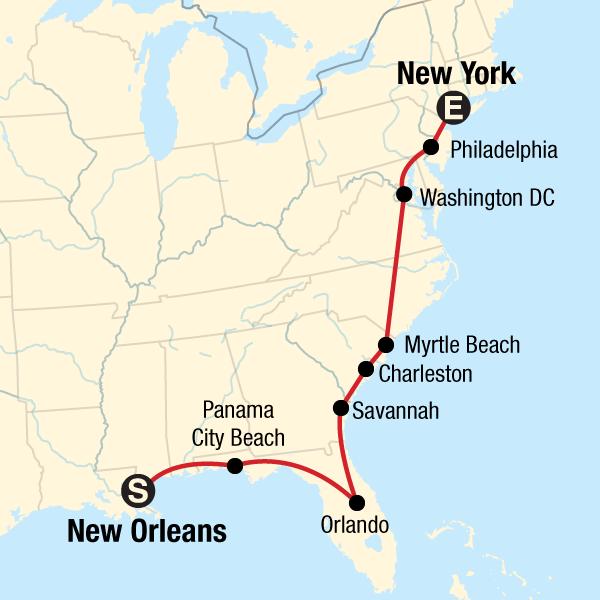 Amerika Karte New York.Usa Roadtrip An Der Ostküste Von New Orleans Nach New York