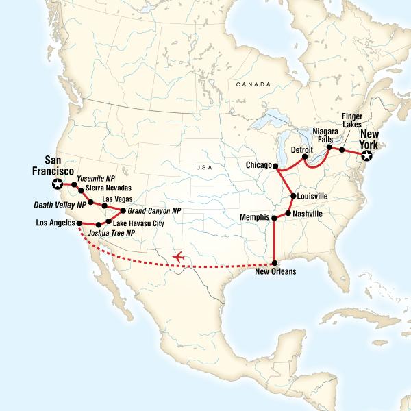 Las Vegas Karte Amerika.Usa Die Highlights Der Ost Und Westküste Traveljunkies Tours