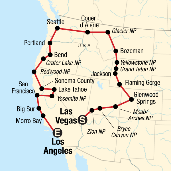 Las Vegas Karte Amerika.Usa Roadtrip Von Vegas Nach Los Angeles Traveljunkies Tours