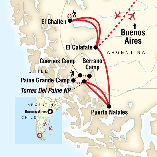 Patagonien Highlights Karte.Wanderreise Patagonien Trekking In Argentinien Chile