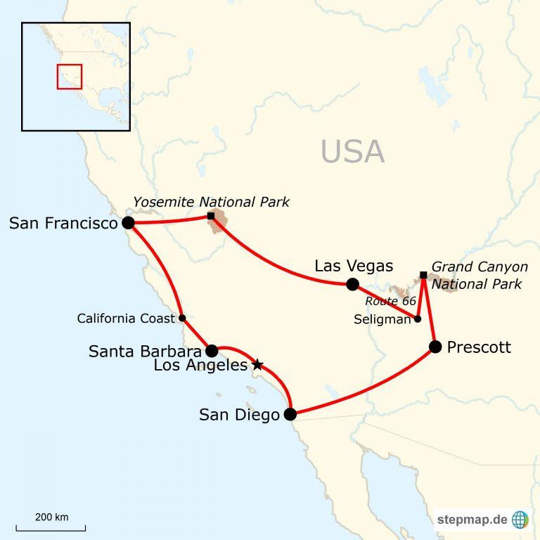 Las Vegas Karte Amerika.Westen Der Usa Erlebnisreise Traveljunkies Tours